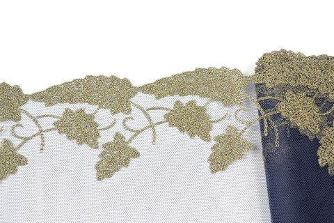 Embroidered lace on navy blue colour