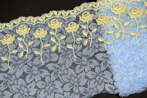 Embroidered lace azure colour