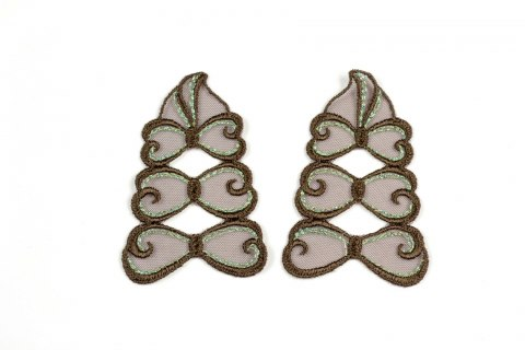 Brown Embroidered appliques 2pairs