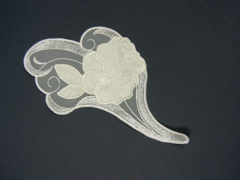 Embroidered applique on tulle