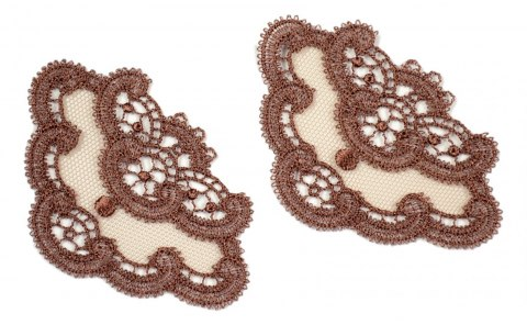 Brwon Embroidered appliques on tulle