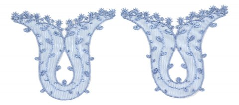 Embroidered appliques in blue colour 3pcs.