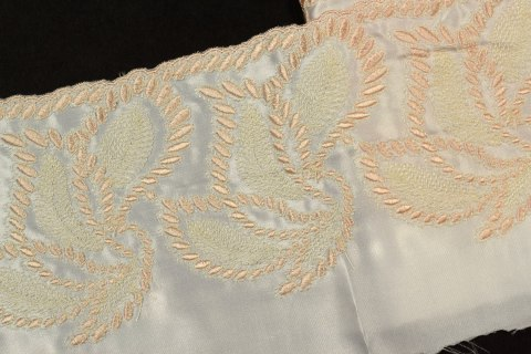 Embroidered lace on sateen