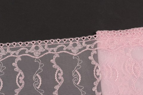 Wide pink colour Embroidered lace