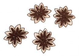 Brown Embroidered appliques on tulle 4pcs.