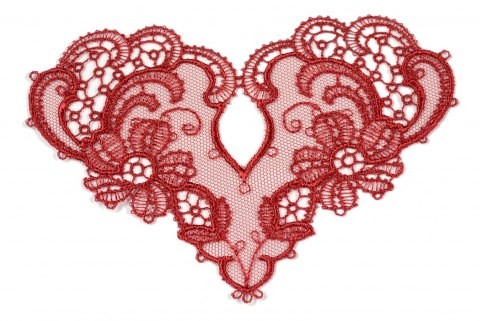 Red Embroidered appliques 2pcs.
