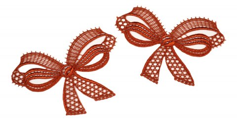 Guipure appliques in bow pattern 2pcs.