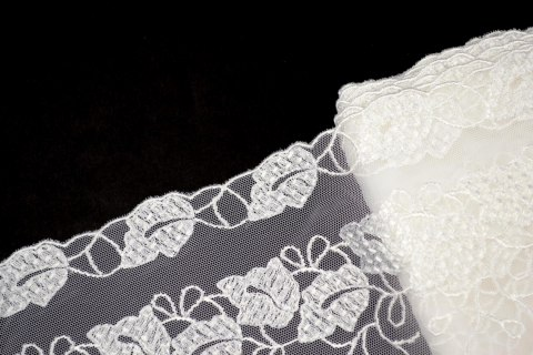 Embroidered lace on tulle
