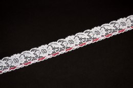 Srtretch lace trim in white color