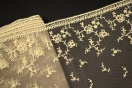 Embroidered lace in beige color