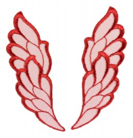 Red Embroidered appliques pair