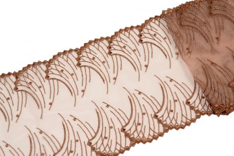 Brown Embroidered lace on tulle