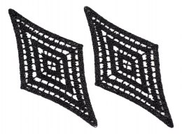 Guipure appliques in black color 2pcs.