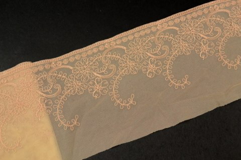 Stretch Embroidered lace in nude color 1mb
