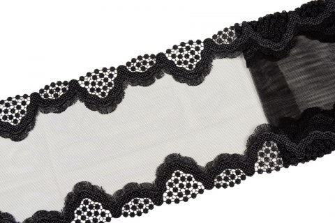 Black embroidered lace on tulle
