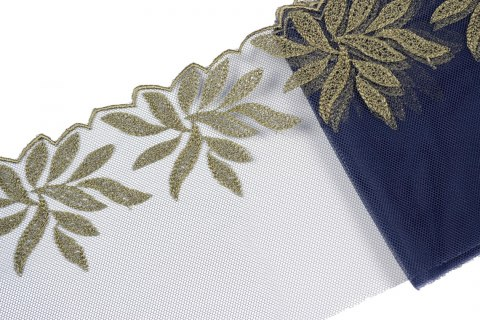 Embroidered lace in navy blue color