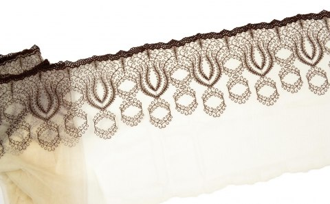 Embroidered lace on light beige color tulle