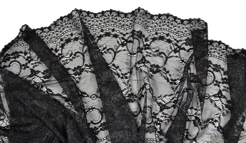 Black color stretch lace trim