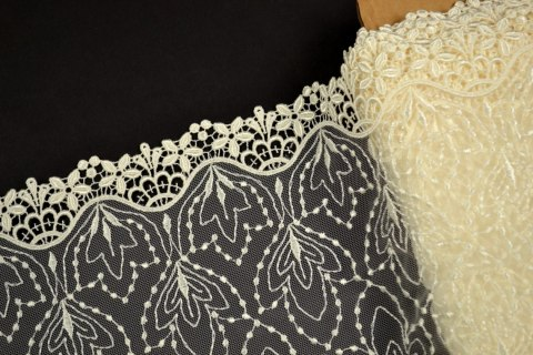 Cream embroidery in flowers