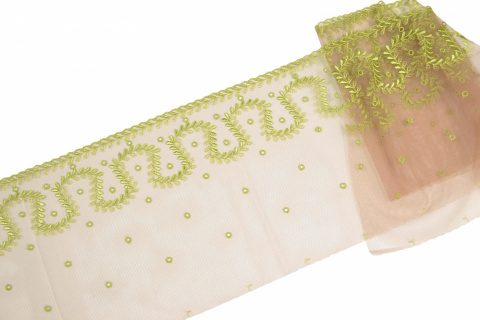 Green embroidery on tulle